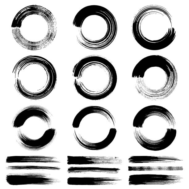 circle brush strokes, grunge design elements - swirl stock illustrations