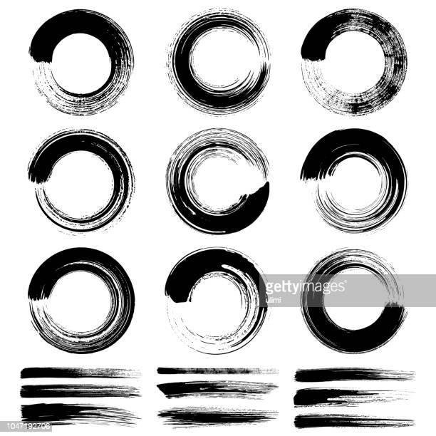 kreis pinselstriche, grunge-design-elemente - schwarzweiß bild stock-grafiken, -clipart, -cartoons und -symbole