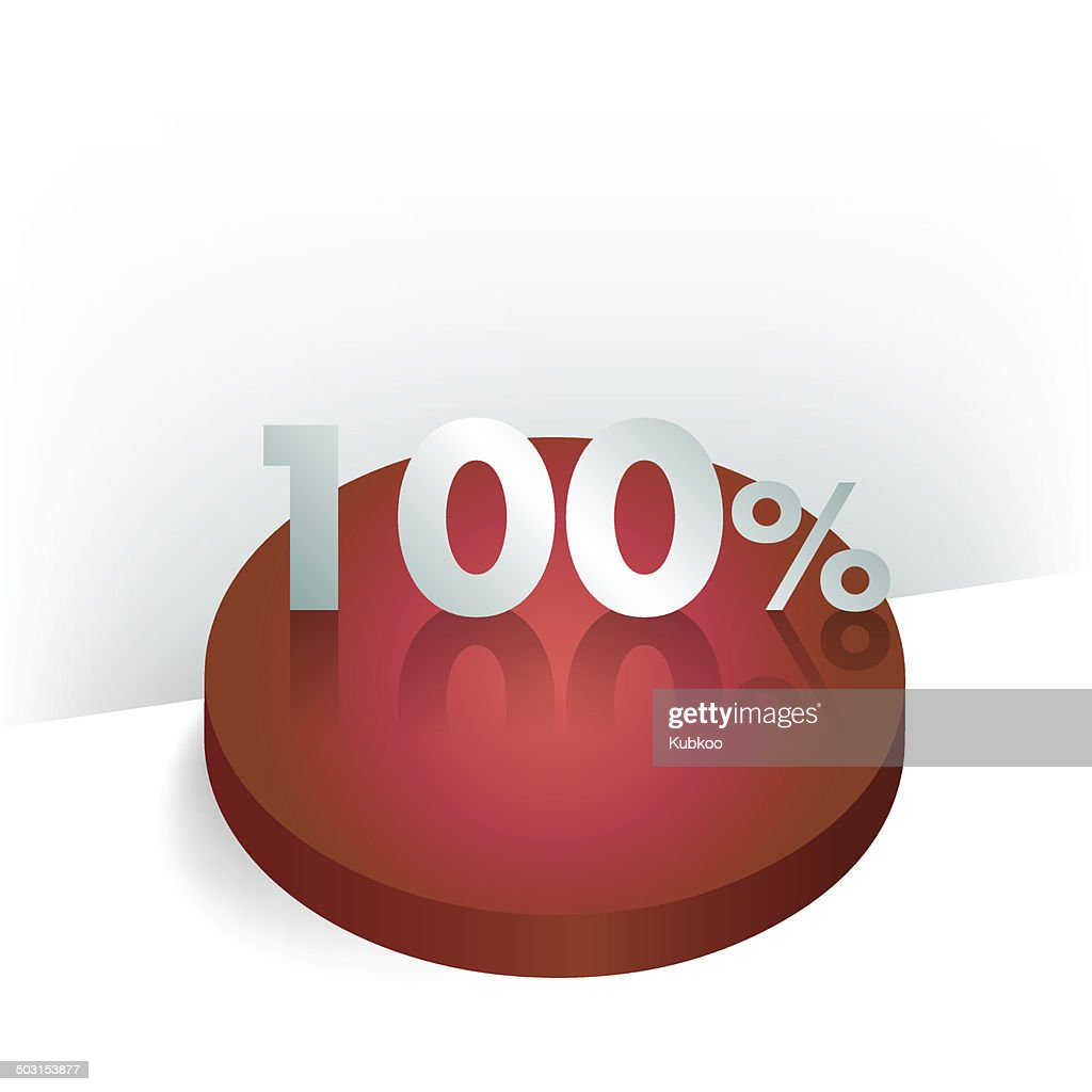 3D circle chart. 100 percent. Button for infographic.