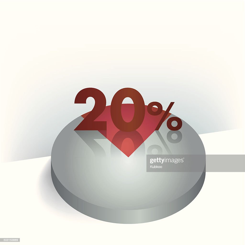 3D circle chart. 20 percent. Button for infographic.