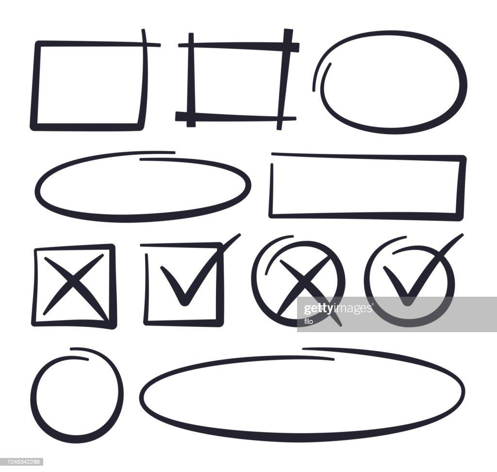 Circle Checkmark Editing Drawn Lines : Stock Illustration