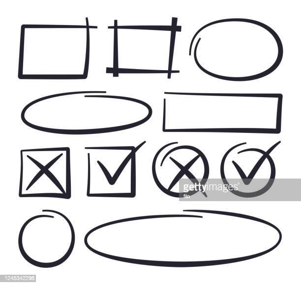 stockillustraties, clipart, cartoons en iconen met getekende lijnen voor het bewerken van cirkelcontrole - schets