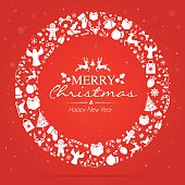 Circle christmas laurel wreath on red background