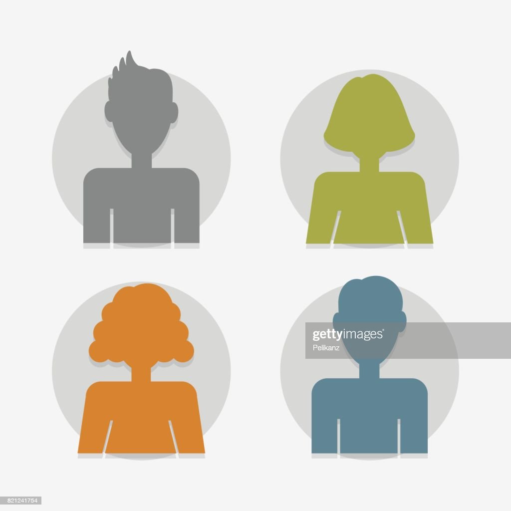 Circle color silhouette male and female avatars set on white background