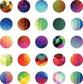 Circle colourful mosaic buttons
