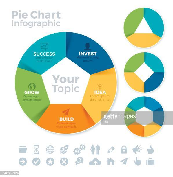 circle data infographic - four objects stock illustrations