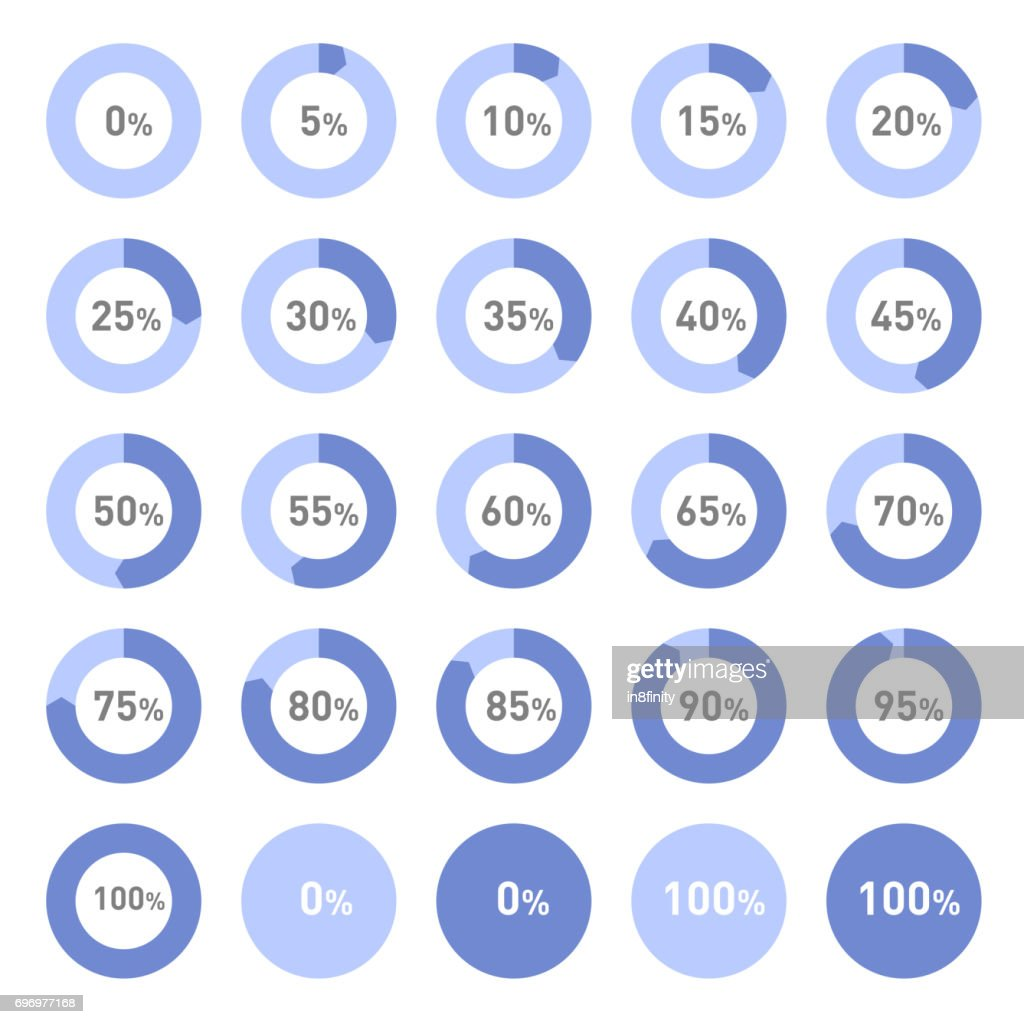 Circle Diagram Pie Charts Infographic Elements. Progress Wheel Vector