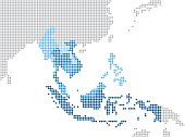 Circle dot South east Asia and nearby countries map.