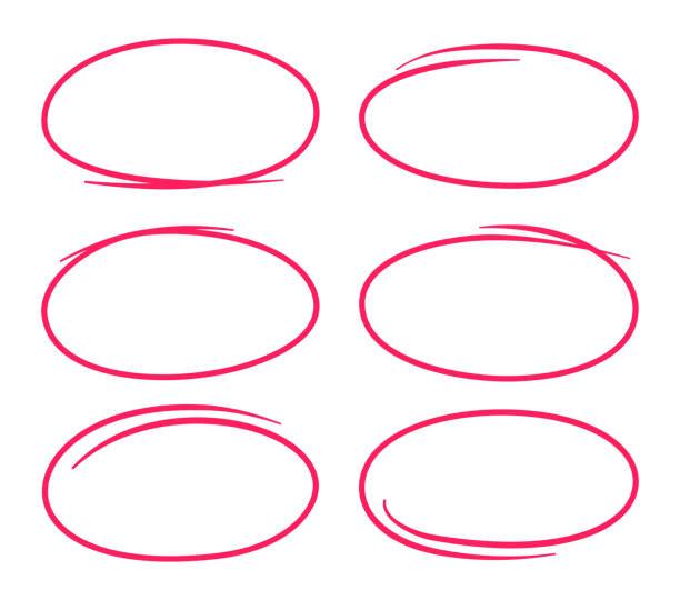 circle editing highlight selection - pencil drawing stock illustrations