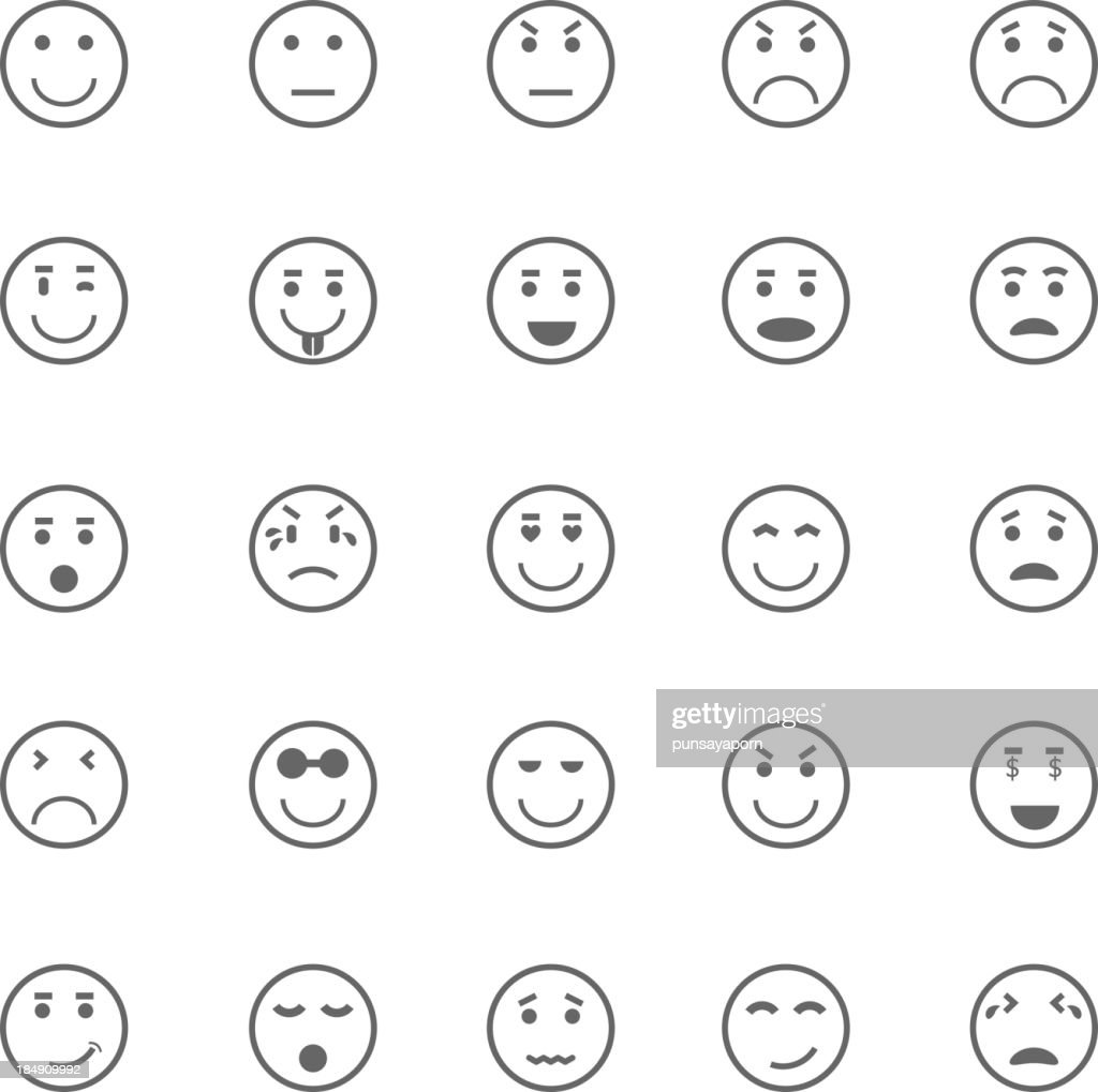 Circle face icons on white background