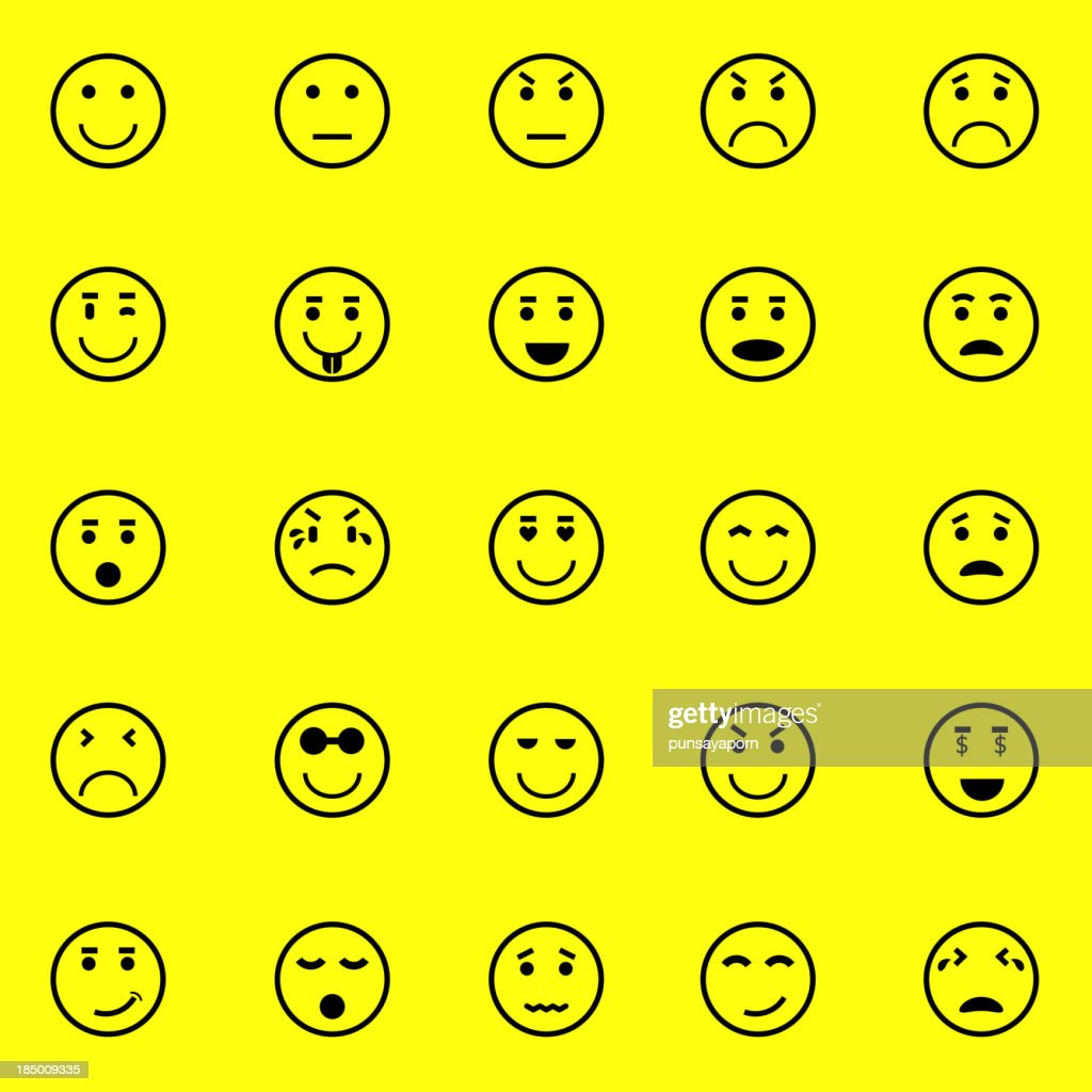 Circle face icons on yellow background