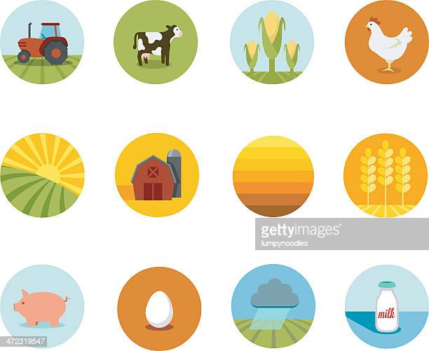 circle farming icons - tractor stock illustrations