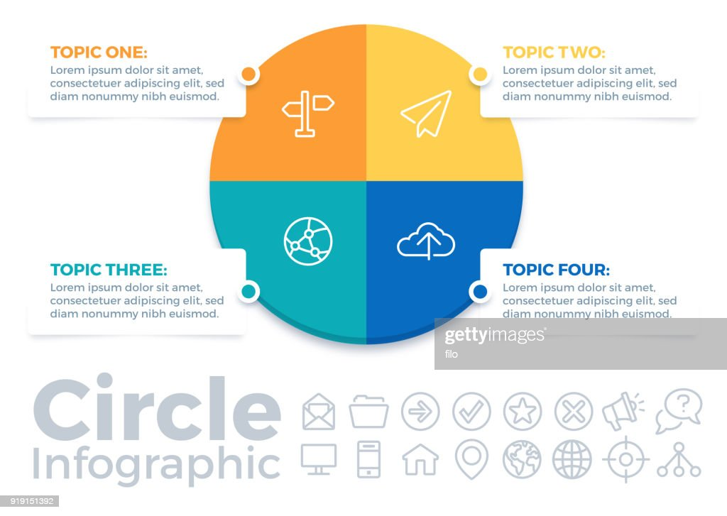 Circle Four Item Infographic Pie Chart : stock illustration