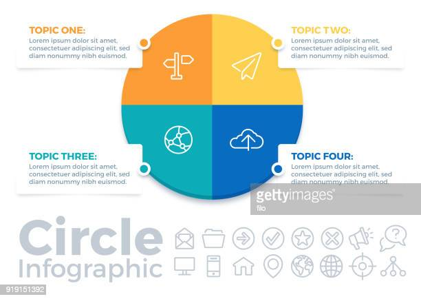 circle four item infographic pie chart - four objects stock illustrations