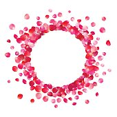 Circle frame of pink rose petals