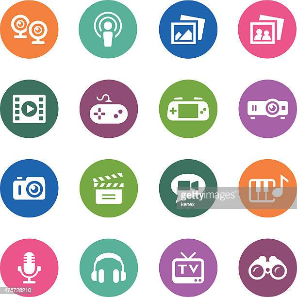 circle icons series | media - podcasting stock illustrations, clip art, cartoons, & icons