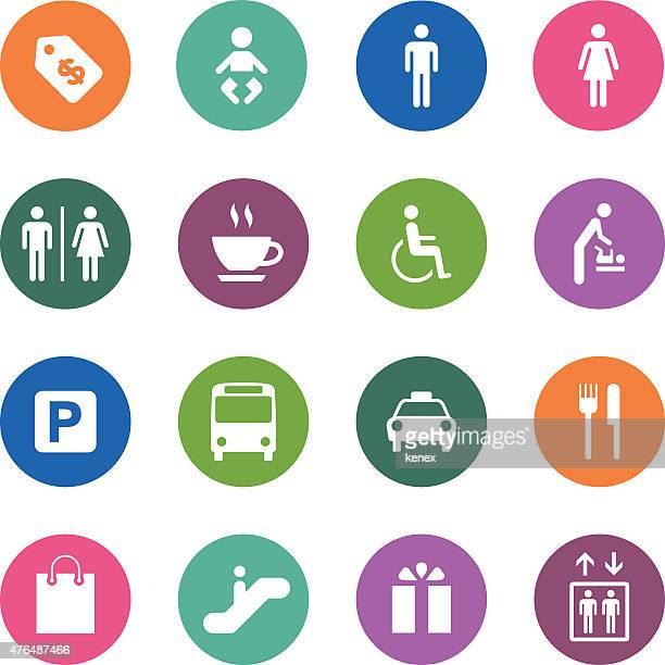 Círculo ícones série/público & Shopping Mall