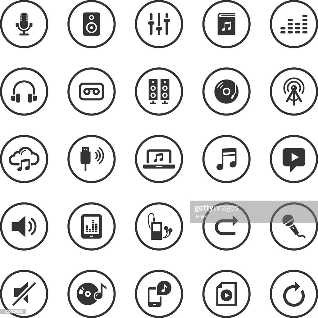 Circle Icons Set | Audio