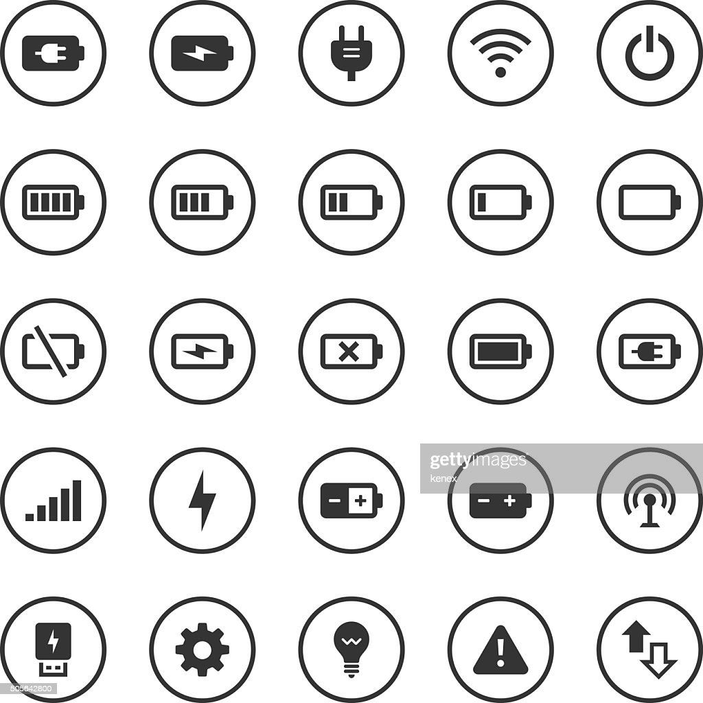 Circle Icons Set | Battery & Power