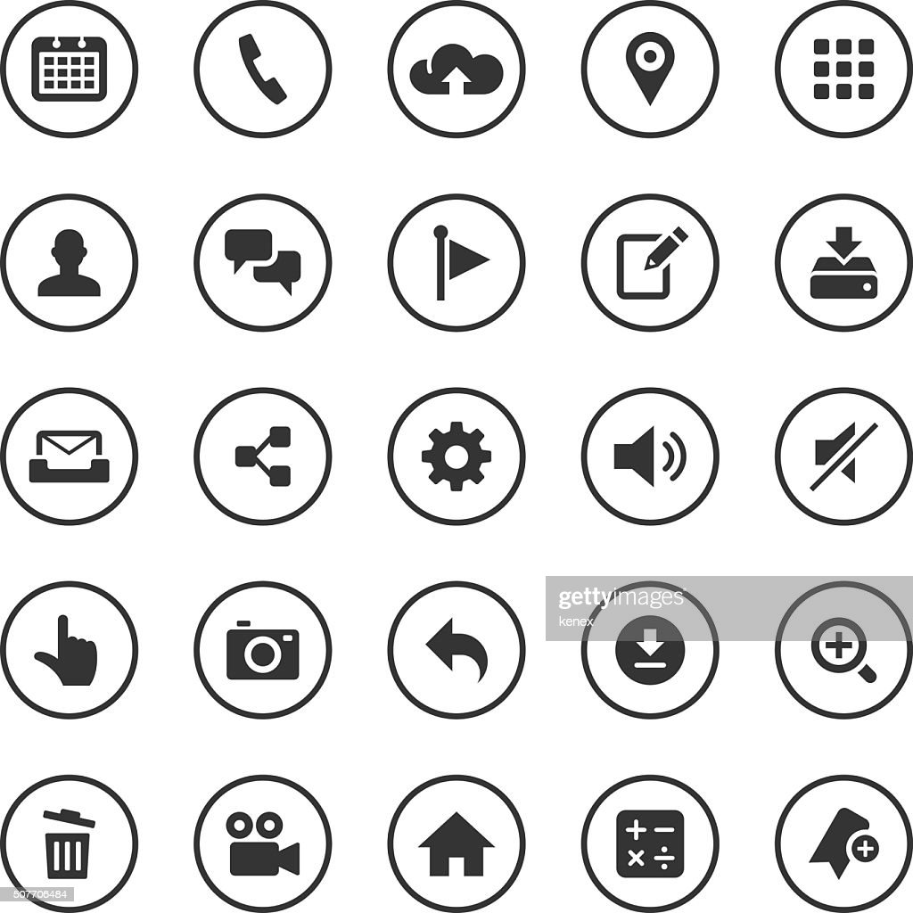 Circle Icons Set | Mobile Apps : stock illustration
