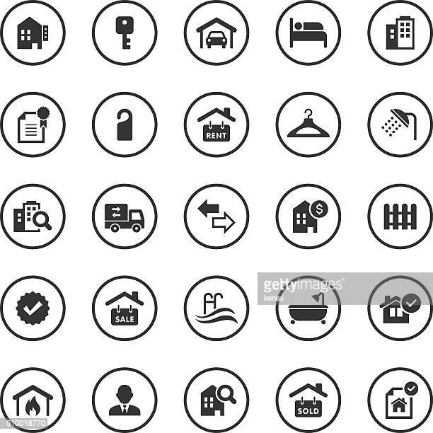 Cercle des icônes Set/Real Immobilier