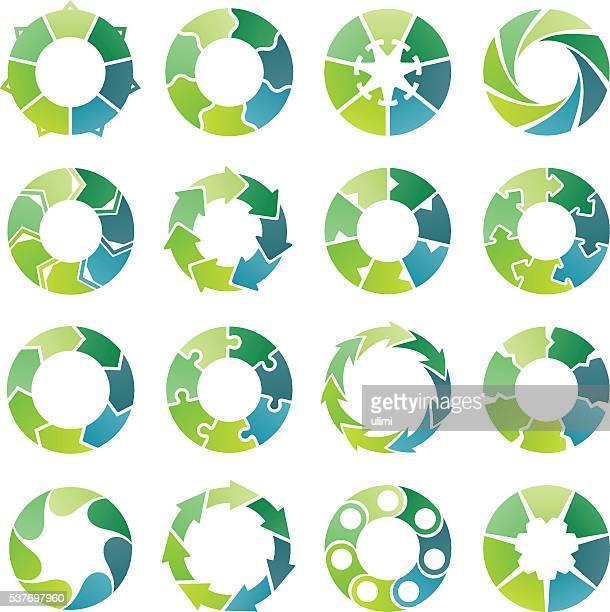 Infográfico de círculo. 7 Os passos