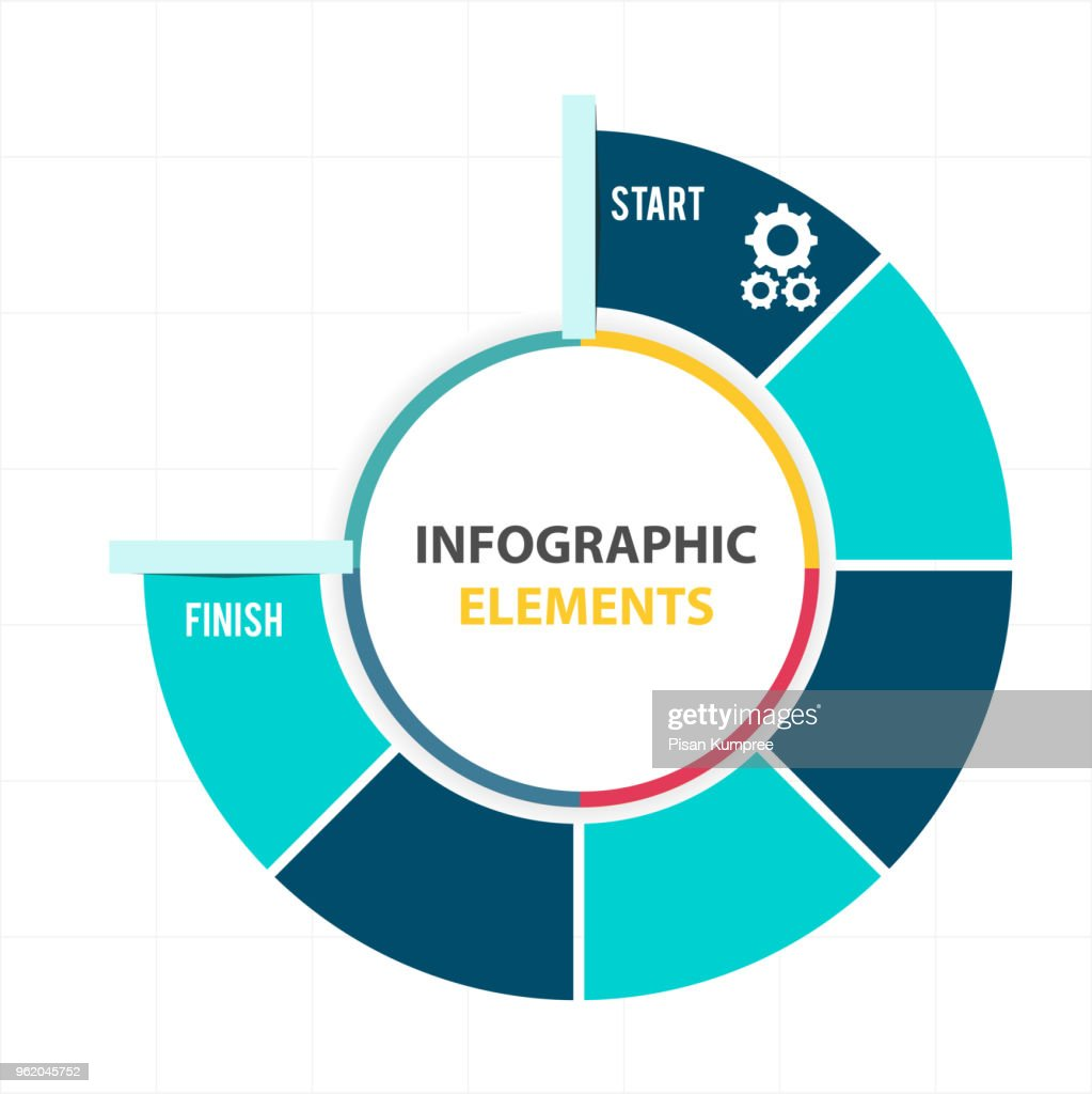 Circle Infographic Elements Pie Chart Template Vector Image Art