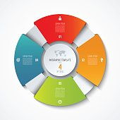 Circle infographic template. Process wheel. Vector pie chart. Business concept with 4 options