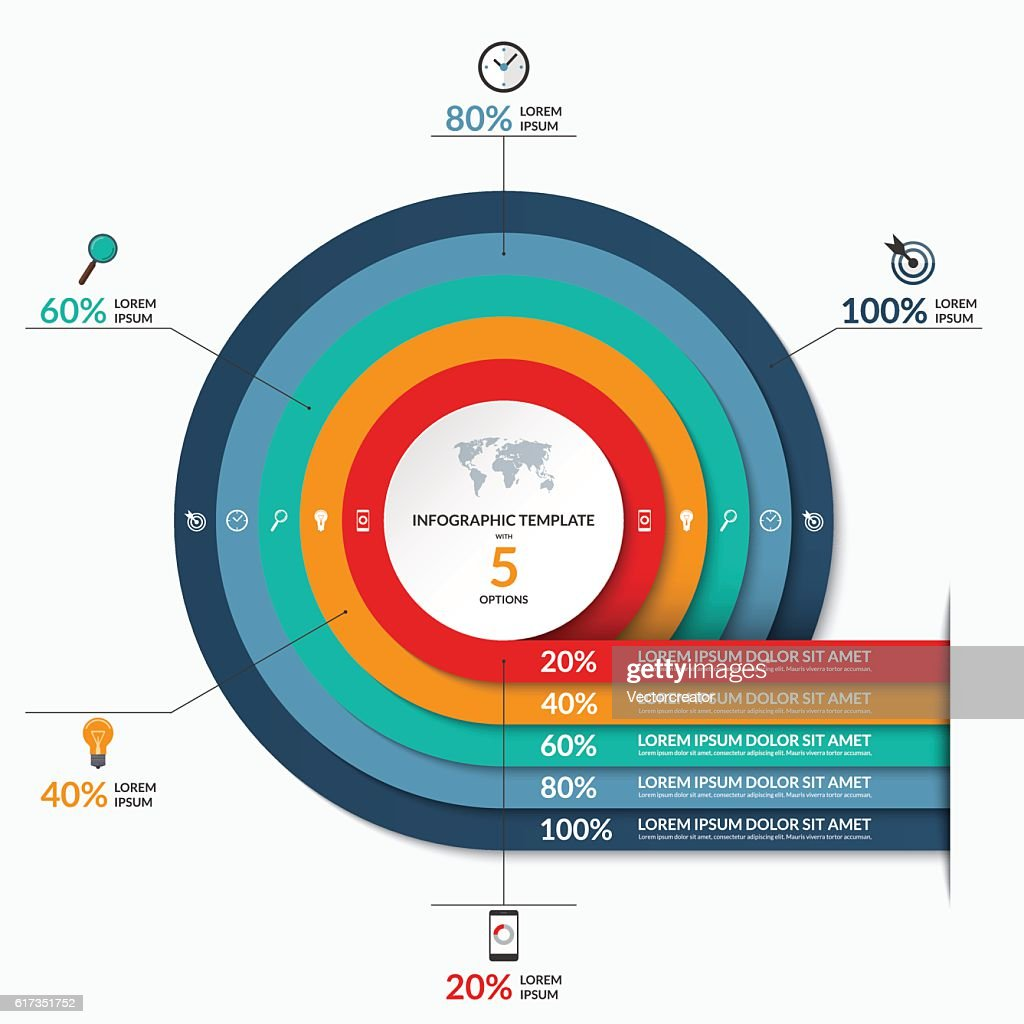Circle infographic template. Vector banner with 5 options