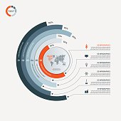 Circle infographic template with 6 options. Business concept.