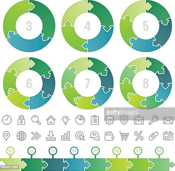 circle infographic - five objects stock illustrations