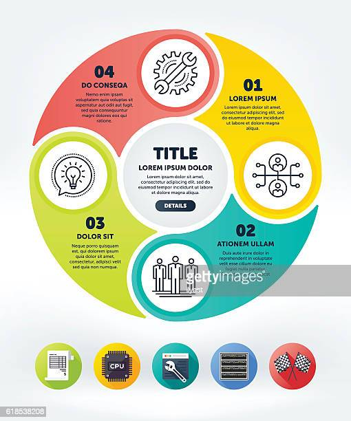 circle infographic - diagram stock illustrations, clip art, cartoons, & icons