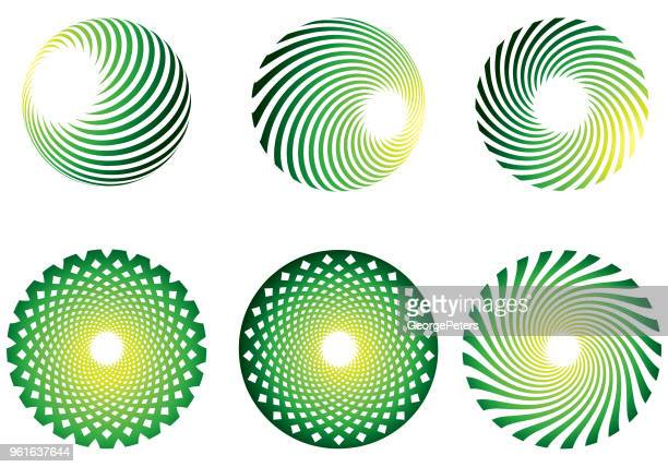 Circle labels with halftone pattern