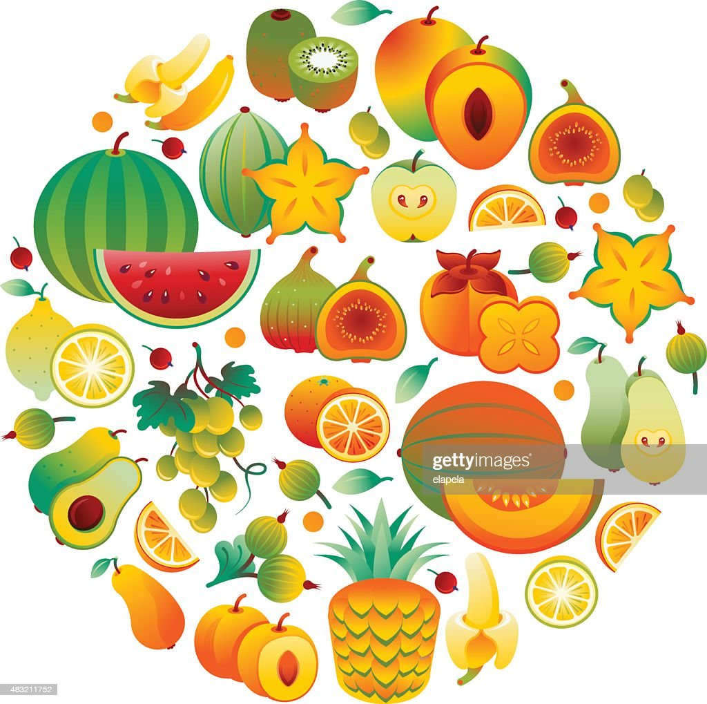 Circle made of orange and yellow fruits