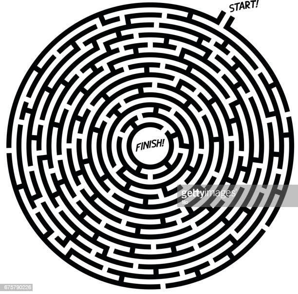 illustrazioni stock, clip art, cartoni animati e icone di tendenza di circle maze path - intrico