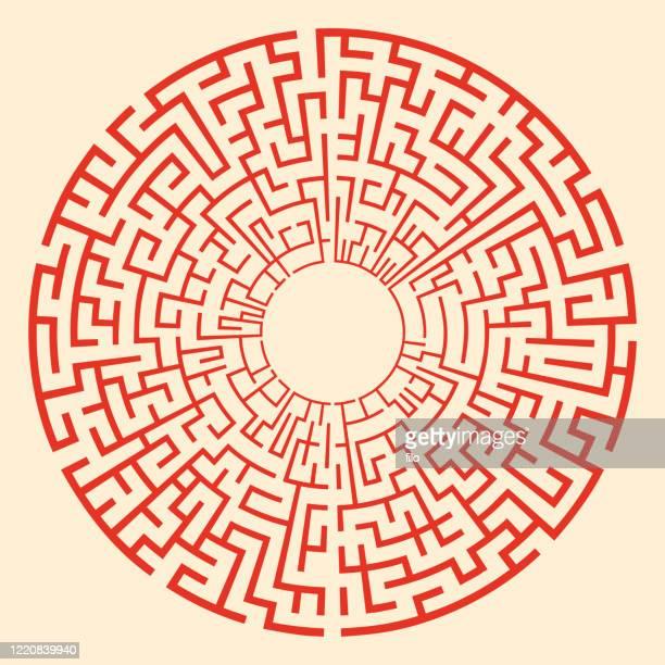 circle maze - mystery stock illustrations