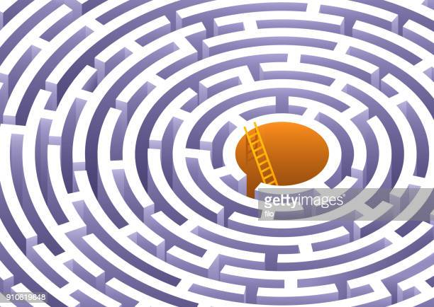 circle maze - reveal stock illustrations, clip art, cartoons, & icons