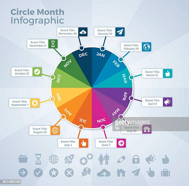 circle month calendar event infographic - month stock illustrations