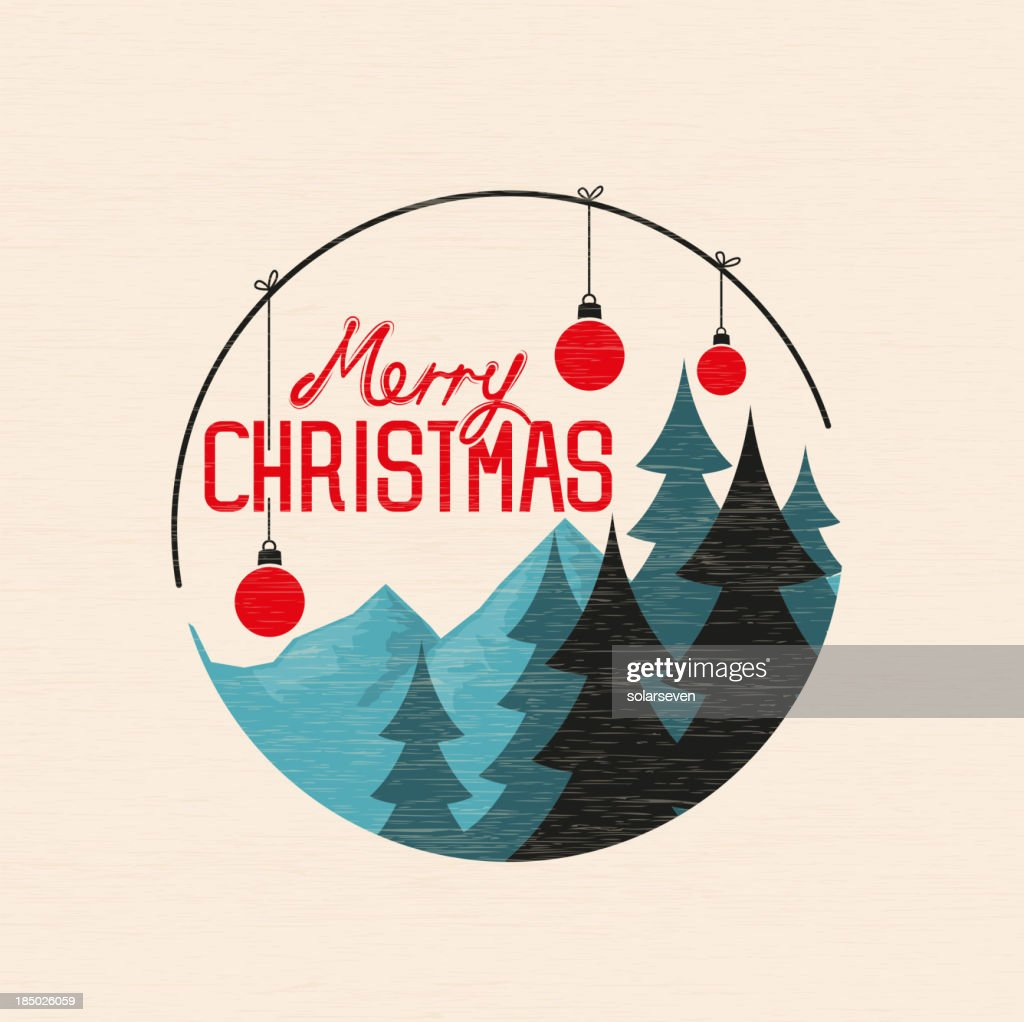 A circle of an illustration of Merry Christmas