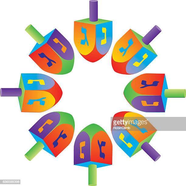 circle of dreidels - hanukkah stock illustrations, clip art, cartoons, & icons