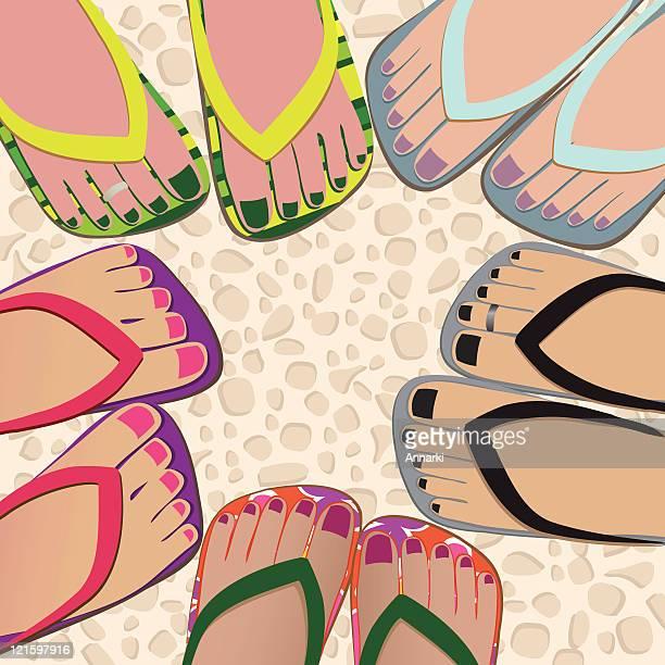 circle of friends - toe stock illustrations, clip art, cartoons, & icons