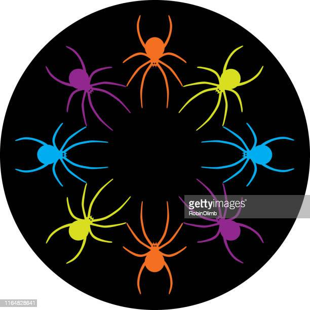 circle of halloween spiders - black widow spider stock illustrations, clip art, cartoons, & icons
