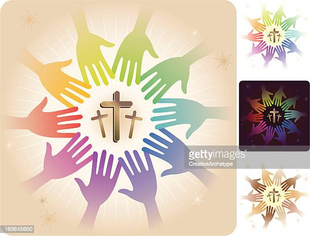 circle of hands - three crosses - jesus stock illustrations, clip art, cartoons, & icons