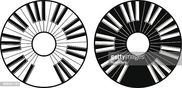 ilustraciones, imágenes clip art, dibujos animados e iconos de stock de círculo de iconos de las teclas del piano - tecla de piano