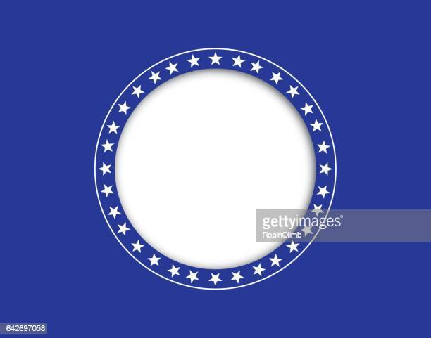 Circle Of Stars On Cut Out Blue Background
