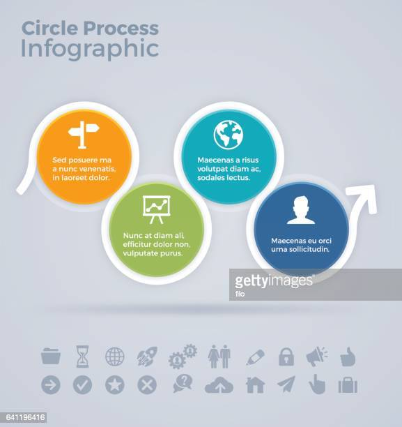 circle process infographic - loopable elements stock illustrations