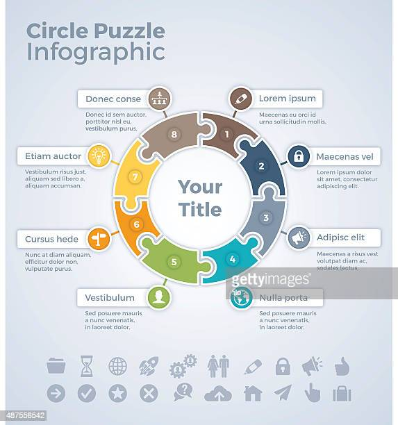 circle puzzle infographic - number 8 stock illustrations
