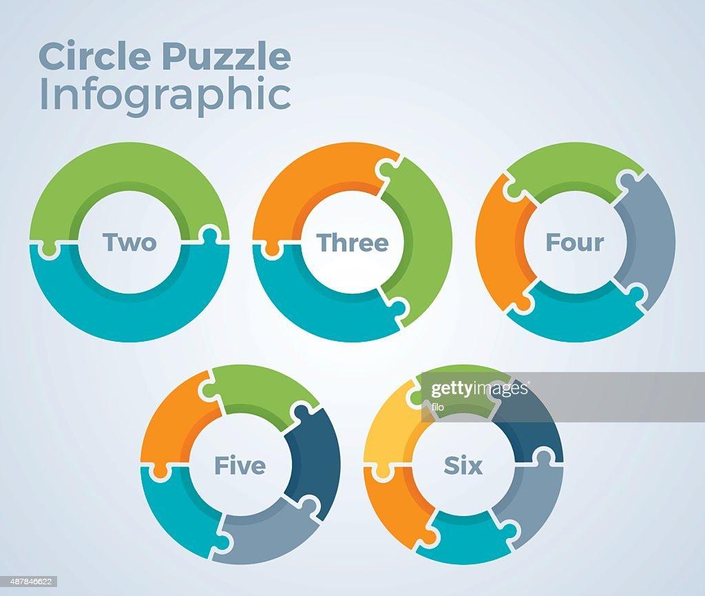 Circle quebra-cabeça Infográfico : Ilustração