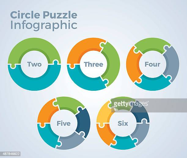 circle puzzle infographic - two objects stock illustrations