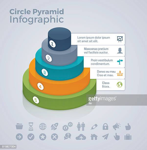 circle pyramid concept - five objects stock illustrations